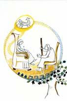 Odisea: Penelope-charla-con-Odiseo-disfrazado-de-mendigo